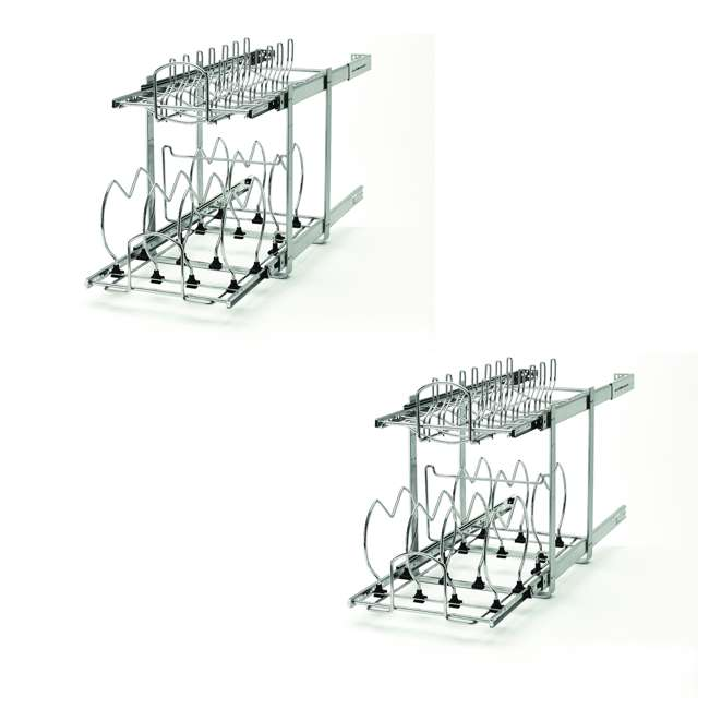 5CW2-1222-CR Rev-A-Shelf Base Cabinet Easy Pullout 2 Tier Cookware Organizer (2 Pack)