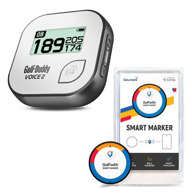 GB7-VOICE2-GREY + PGSMGps Golf Buddy Voice 2 Talking GPS Range Finder Golfwith Smart Marker Bluetooth Golf Shot Tracker