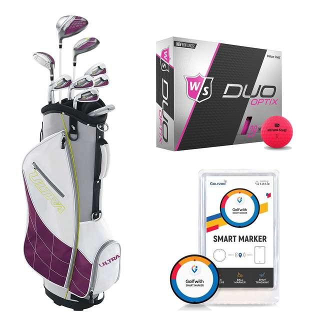 WGGC4340L + WGWP43500 + PGSMGps Wilson Ultra Ladies Super Long Golf Club Set + Golf Balls + Golf Shot Distance Tracker