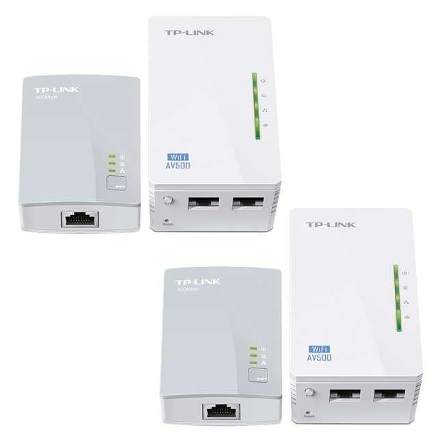 TPL-TL-WPA4220KIT TP-Link 300Mbps Wi-Fi Range Extender AV500 Powerline Starter Kit (2 Pack)