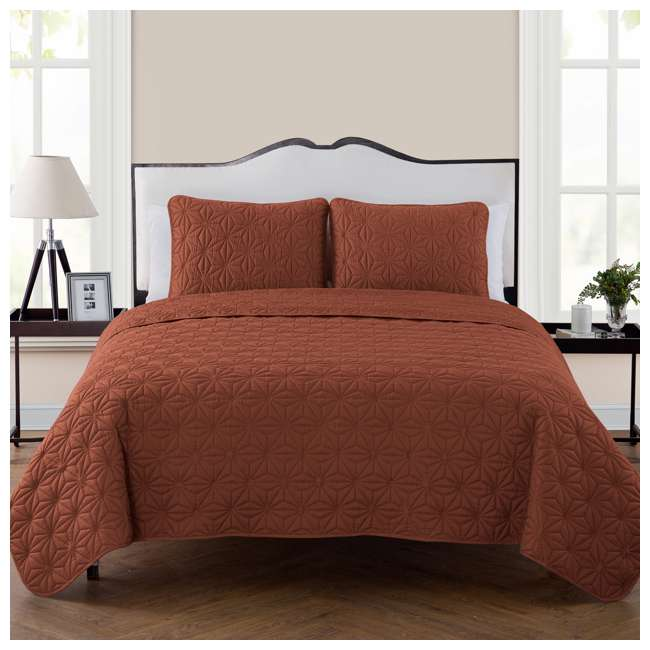 KLI-3QT-FUQU-IN-OB VCNY Home Kaleidoscope Geometric Orange 3 Piece Bed Quilt & Sham Set, Full/Queen 1