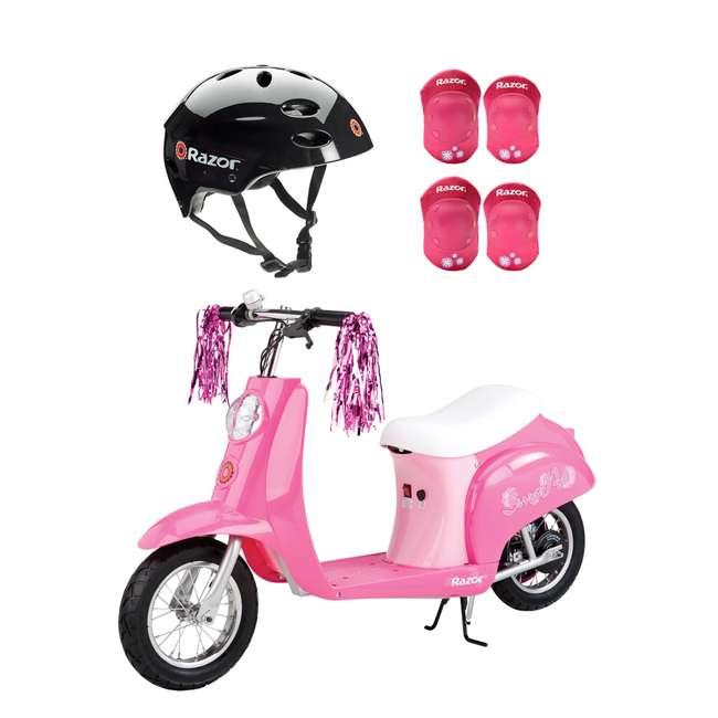 15130659 + 97778 + 96783 Razor Rechargeable Ride-on Scooter + Bicycle Helmet + Elbow & Knee Pad Set