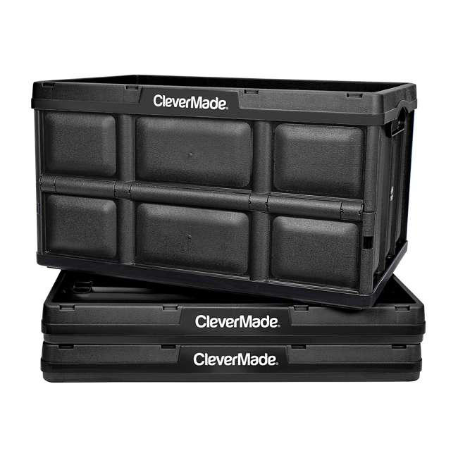 8031748-0063PK CleverMade Durable Stackable 62L Home Collapsible Storage Bins, Black (3-Pack)