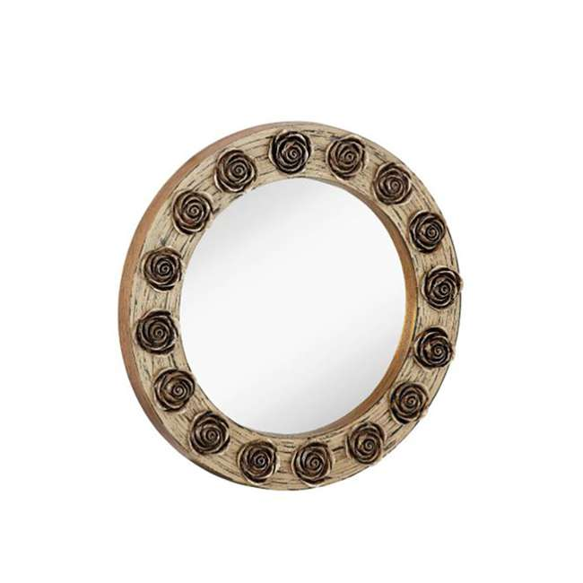 2486-P-U-A Majestic Mirror Round Wood Hanging Wall Mirror with Gold Roses Accent (Open Box)