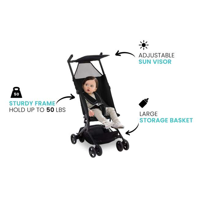 11362-001 Delta Children The Clutch Compact Foldable Light Travel Baby Stroller, Black 6