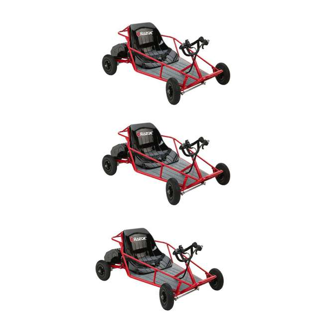 3 x 25143511 Razor Dune Buggy 25143511 Electric Powered Runner Kids Car Go Cart, Red (3 Pack)