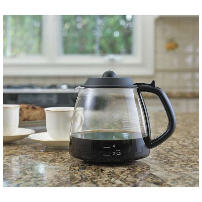 1-GL312-BL-4 Cafe Brew 12-Cup Millennium Pause and Serve Replacement Glass Carafe, Black 1