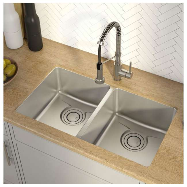 KD1UD33B-OB Kraus Dex 33-Inch Undermount Double Bowl Stainless Steel Sink (OPEN BOX) 2
