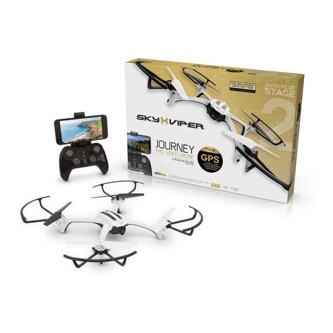 SKY-01849 + SKY-01846 Sky Viper Journey Pro GPS Live Video Drone & Battery Pack 3
