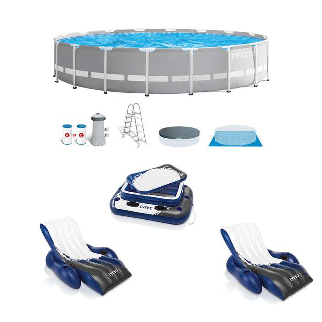 26731EH + 2 x 58868EP + 58821EP Intex Prism Pool w/ Inflatable Loungers and Cooler