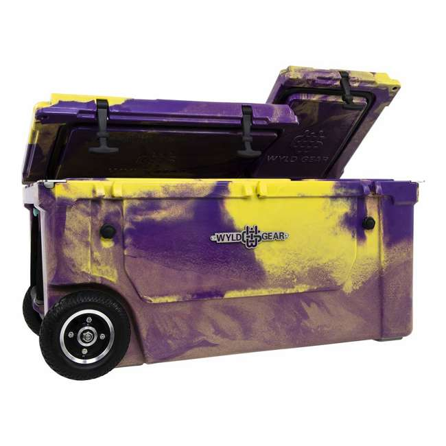 HC75-17PG WYLD 75 Quart Pioneer Dual Compartment Insulated Cooler w/ Wheels, Purple/Gold