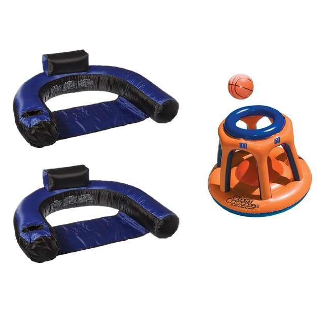 90465 + 90285 Swimline Pool Chair Float(2 Pack) w/ Swimline Shootball Inflatable Pool Toy