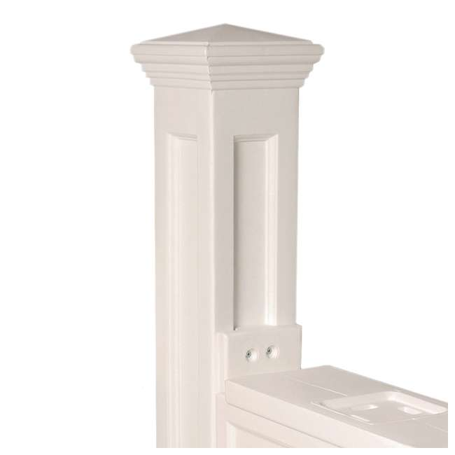 MO-5810-W Mayne Outdoor 5810 Dover Plastic Mailbox Post Pole Mount w/ Paper Holder, White 6