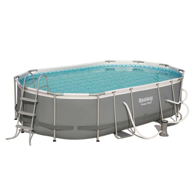 56655E-BW + 58422E-BW Bestway Power 16x10x3.5 Foot Above Ground Pool Set w/ Pump & Powercell Vacuum 1