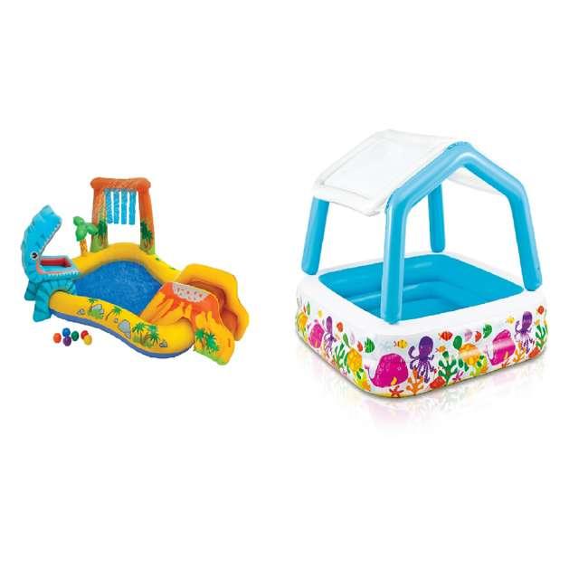 "57444EP + 57470EP Intex 8' x 6.25' x 43"" Dinosaur Play Center w/ 5' x 48"" Kids Swimming Pool"