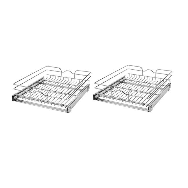 """5WB1-1822-CR Rev-A-Shelf 18"""" Wide 22"""" Deep Base Kitchen Cabinet Pull Out Wire Basket (2 Pack)"""