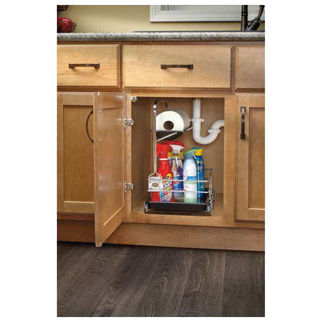 544-10C-1 Rev-A-Shelf 544-10C-1 Undersink Base Cabinet Slide Out Cleaning Caddy. Silver 4