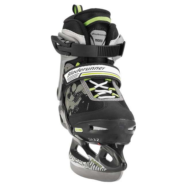 0G144400T83-M Bladerunner Micro Ice Boys Youth Adjustable Skates, Medium, Black and Green 1