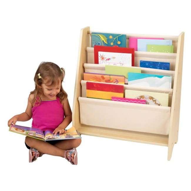 14221-U-A KidKraft Wood & Canvas Sling Shelf Kids Book Case Shelf - Natural (Open Box) 1