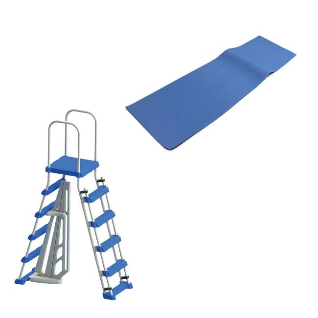 87950 + 87953 Swimline 48 Inch Pool Ladder with 9x36-Inch Vinyl Protective Pool Ladder Mat