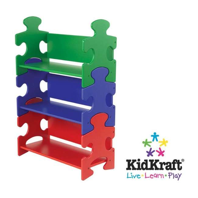 14400-U-A KidKraft Wood Kids Puzzle Bookcase Shelf - Primary | 14400 (Open Box) 1