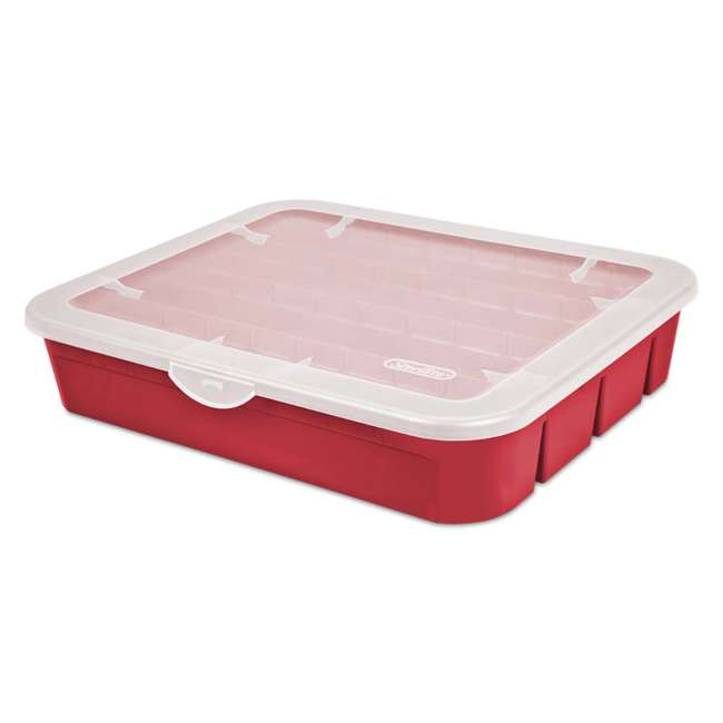 12 x 19796606 Sterilite Adjustable Ornament Storage Box, Red (12 Pack) 1