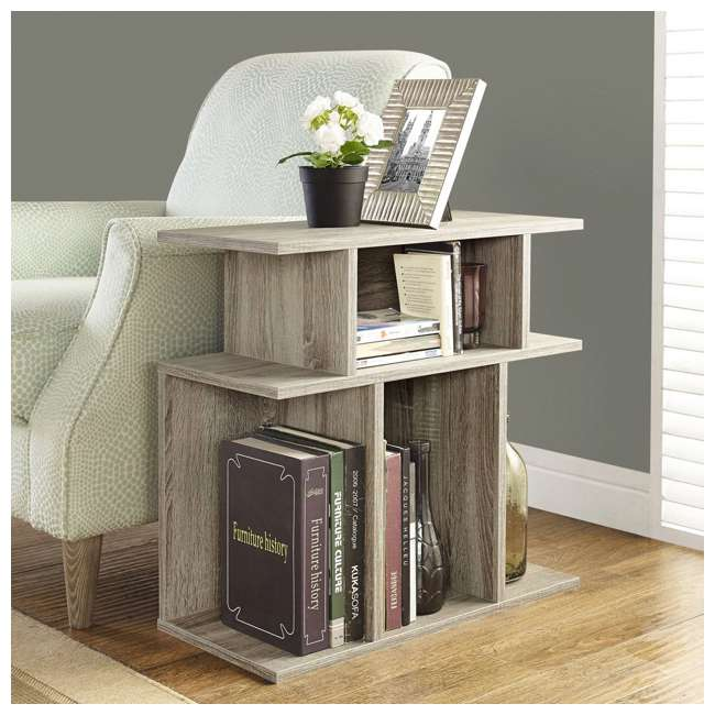 """VM-2476-U-B Monarch Specialties 24"""" Wood Hollow Core Side Accent Table, Dark Taupe (Used) 2"""