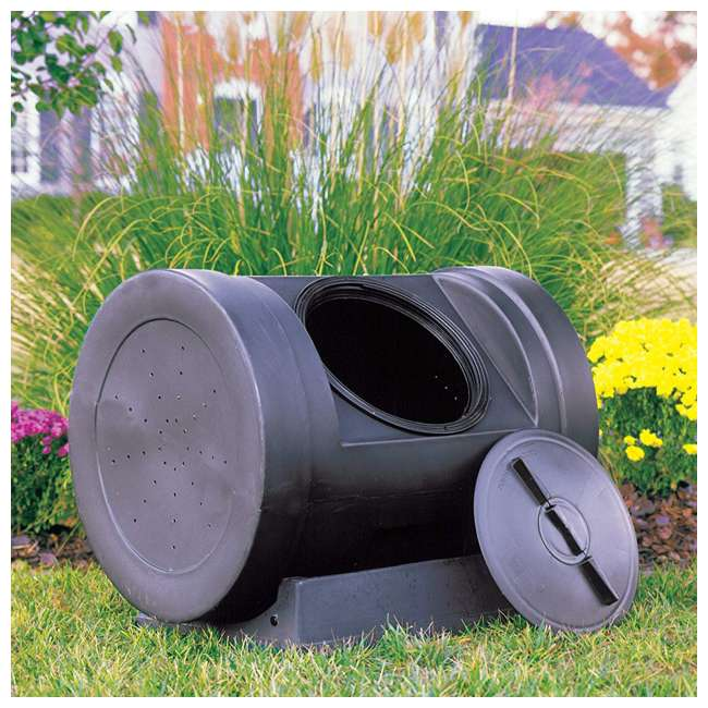 EZC01-BLK Good Ideas Plastic Outdoor 12-Cubic-Foot Compost Wizard Tumbling Composter 3