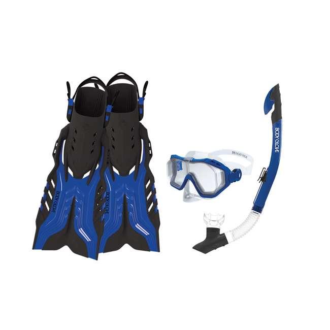 6 x 17810PSET Body Glove Predator Purge Large Mask, Snorkel, & Fins Set, Blue (6 Pack)