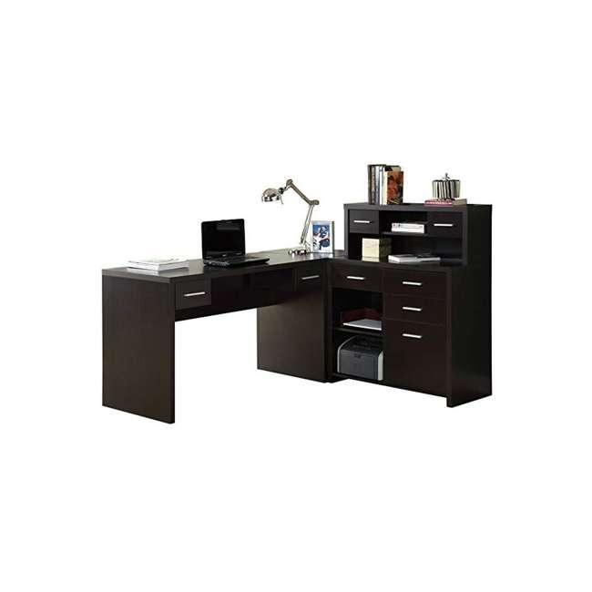 I 7018 Monarch Specialties Left or Right Facing Corner Computer Desk Hutch, Cappuccino