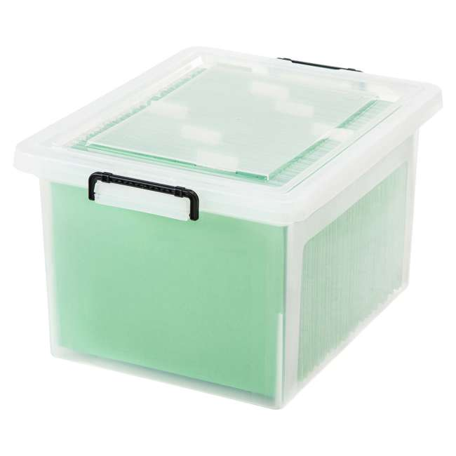 585950-6PK IRIS USA Letter and Legal Size File Box Storage Container with Buckle, Clear 2