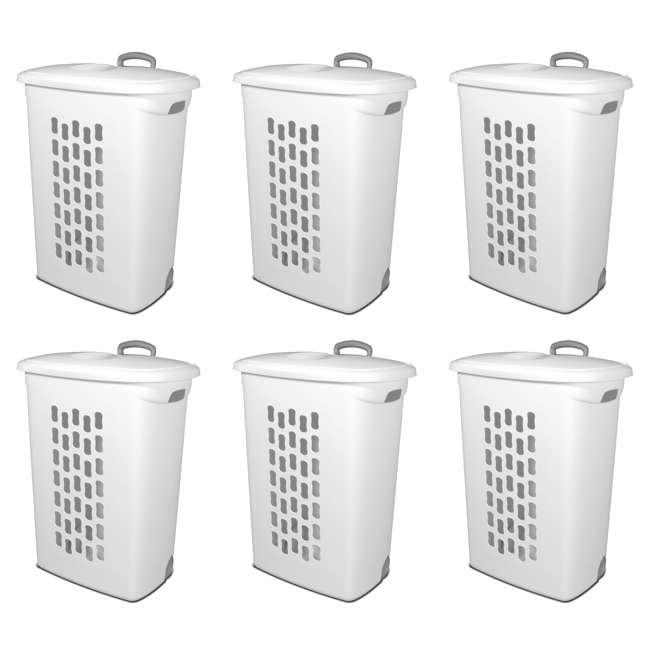 6 x 12228003 Sterilite White Laundry Hamper With Lift-Top, Wheels, And Pull Handle (6 Pack)