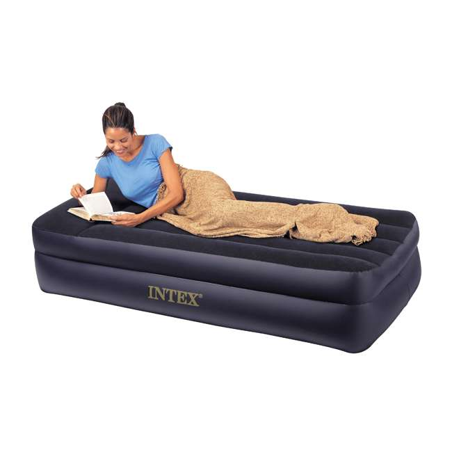 66705E Intex Pillow Rest Twin-Size Air Mattress w/ Built-In Pump & Pillow  1