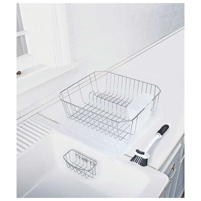 FG1F91MACHROM Rubbermaid 4 Piece Antimicrobial Counter Top Sinkware Wire Drainer Set, Chrome 1