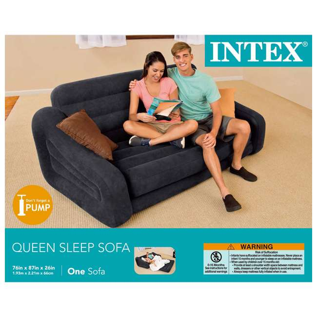 68566EP + 64123E Intex Inflatable Queen Pull-Out Futon Sofa + Queen Air Mattress 11