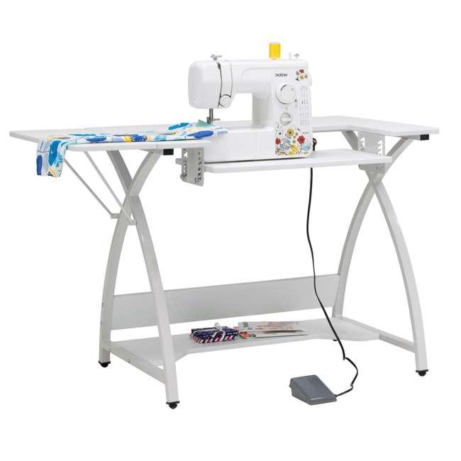 STDN-38017 Sew Ready STDN-38017 Venus Sewing Machine Craft Hobby Table Computer Desk, White 5