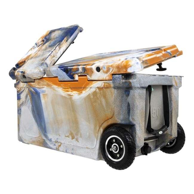 HC75-17ONW WYLD 75 Quart Pioneer Dual Compartment Insulated Cooler w/ Wheels, Blue/Orange 4