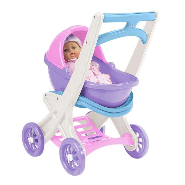 APT-20250-U-B American Plastic Toys Toddlers On the Go Baby Doll Stroller Buggy & Cradle(Used)
