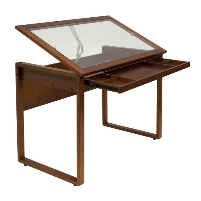 STDN-13280 Studio Designs Wooden Glass Top Ponderosa Drafting Desk (2 Pack) 1