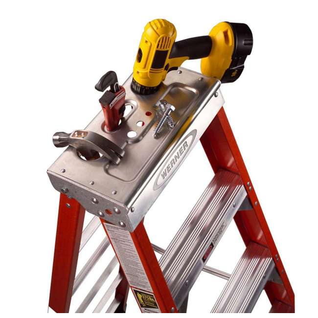 W-7407 Werner 7 Foot Fiberglass Step Ladder with 375 Pound Capacity Type IAA Rating 3