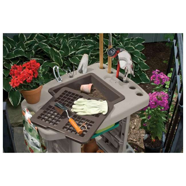 GC1500B Suncast Portable Outdoor Garden Center Station Tool Cart, Light Taupe (Used) 2