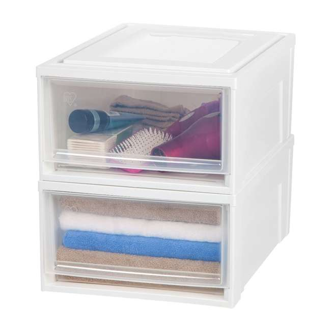 591073-3PK IRIS Medium 31 Qt Stackable Pull Out Clear Front Plastic Drawer, White (3 Pack) 2