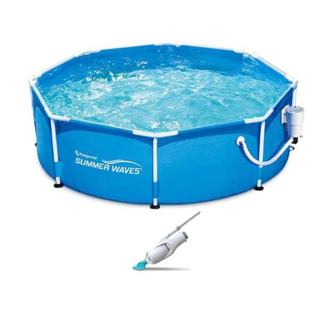 Summer waves 8 foot metal frame above ground pool set - Summer waves pool ...