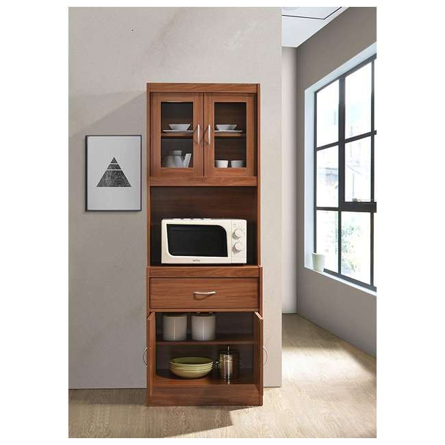 "HIKF96 CHERRY Hodedah Import 70"" Tall Top/Bottom Enclosed Kitchen Cabinet with Drawer, Cherry 3"