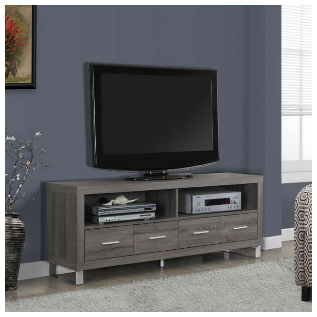 "MS-VM2517-U-B Monarch Specialties 60"" Entertainment TV Stand w/ 4 Drawers, Dark Taupe (Used) 1"