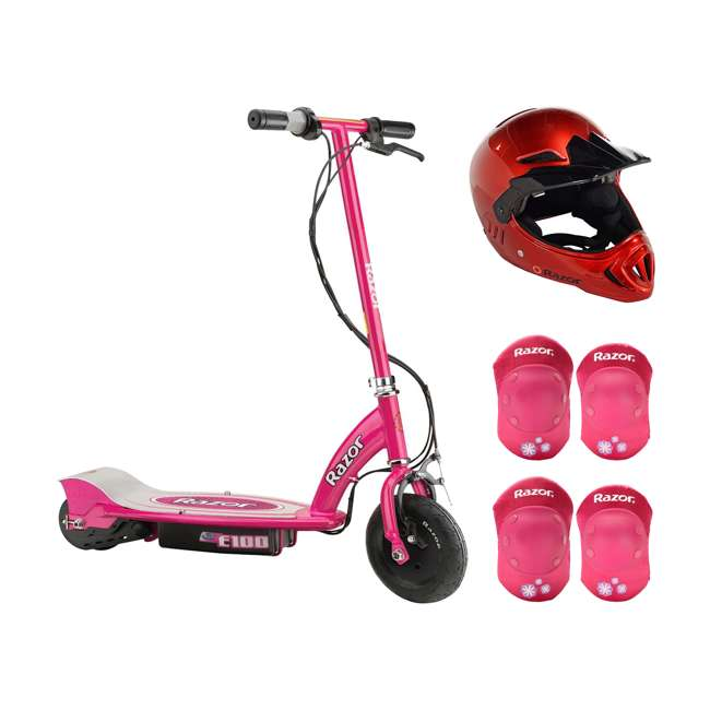 13111261 + 97880 + 96783 Razor E100 24V Electric Ride On Scooter, Pink with Red Helmet & Elbow/Knee Pads