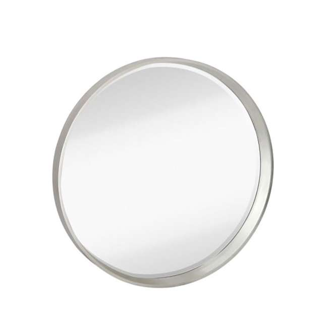 2195-B Majestic Mirror Modern Round Silver Frame Glass Wall Mirror