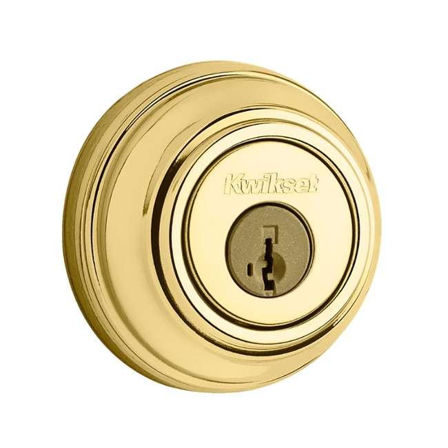 99850-055-U-B Kwikset 985 980 Series 2-Cylinder Keyed Deadbolt, Polished Brass (Used)