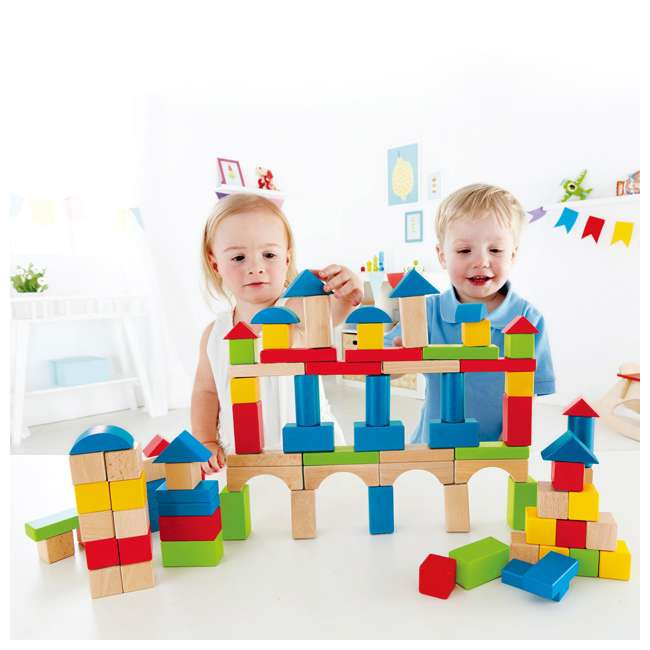 4 x HAP-E0427 Hape Kid's Build Up and Away Wood Blocks Toy Set (4 Pack) 3