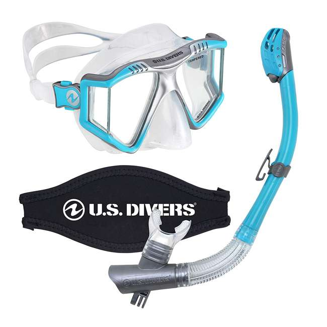 244870 U.S. Divers Lux Mask Snorkel Combo w/ Mount Compatible with GoPro Cameras, Aqua